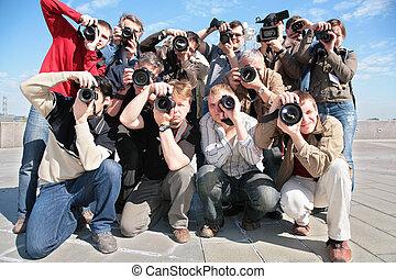 グループ, の, カメラマン