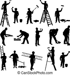 グループ, の, 労働者, シルエット