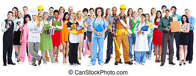 グループ, の, 労働者, 人々。