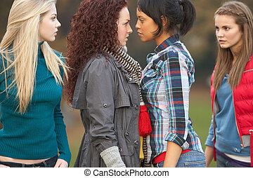 グループ, の, 対抗的, ティーネージャー, 女の子