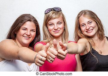 グループ, の, 幸せ, 友人, 親指を断念する