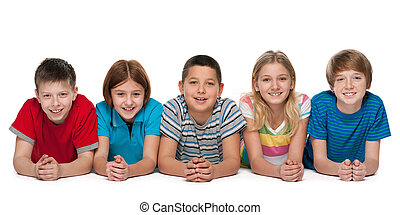 グループ, の, 幸せ, 子供