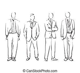 グループ, の, 手, 引かれる, ビジネス 人々