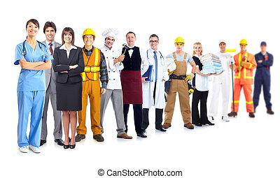 グループ, の, 産業, workers.
