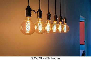 グループ, の, 白熱, 電球