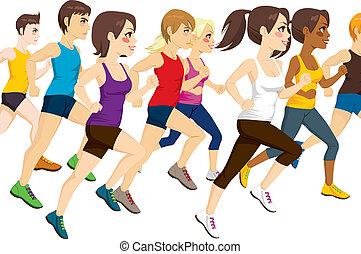 グループ, の, 運動選手, 動くこと