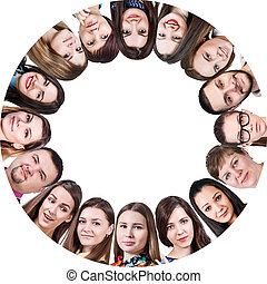 グループ, の, a, 幸せ, 人々が中にいる, 円