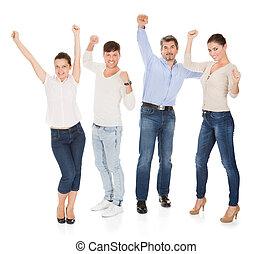 グループ, の, a, 幸せ, 人々