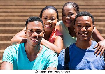 グループ, の, african american, 大学, 友人