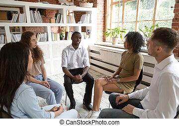 グループ, アフリカ, セッション, 療法, の間, カウンセリング, 話すこと, 人