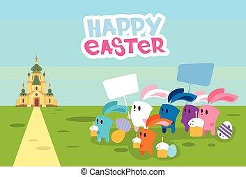 グループ, ウサギ, 把握, プラカード, 卵, 行きなさい, へ, 教会, 幸せなイースター, 休日, 旗