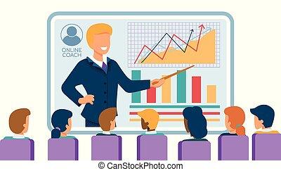 グループ, オフィスの人々, 腕時計, seminar., 経済, オンラインで