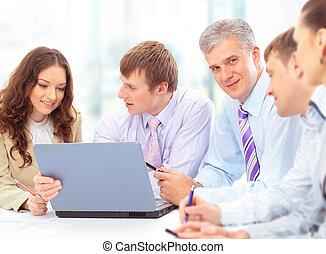 グループ, オフィス, ビジネス 人々, ミーティング, 幸せ