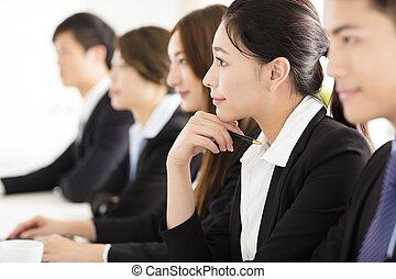 グループ, オフィス, ビジネス 人々, ミーティング, 持つこと
