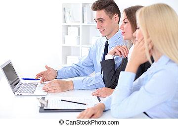 グループ, オフィス, ビジネス 人々, 背景, ミーティング