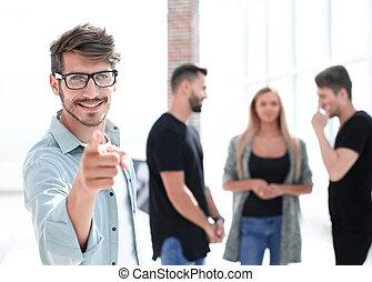 グループ, オフィス, ビジネス 人々, 若い, ミーティング, 幸せ