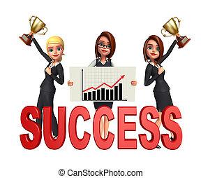 グループ, オフィス, 成功, 人々, 印。, ビジネス