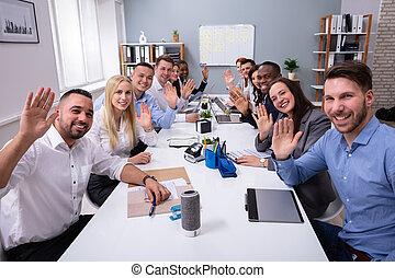 グループ, オフィス, businesspeople, 振る手, 幸せ