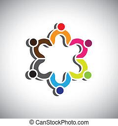 グループ, カラフルである, 人々, ∥あるいは∥, シンボル, デザイン, 子供
