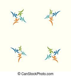 グループ, カラフルである, 人々, チームワーク, テンプレート, ロゴ