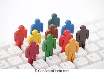 グループ, カラフルである, 人々, ペイントされた, コンピュータ, 数字, キーボード