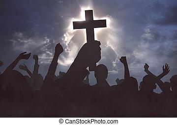 グループ, キリスト, 人々, イエス・キリスト, キリスト教徒, 祈ること
