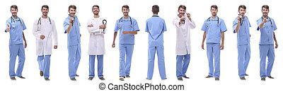 グループ, コラージュ, 医学, 隔離された, パノラマである, 医者, 白