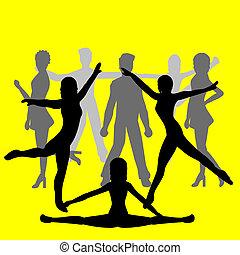 グループ, ダンサー, -, 人々
