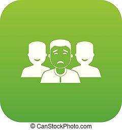 グループ, デジタル, 緑, 人々, アイコン
