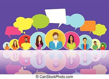 グループ, ネットワーク, アイコン, コミュニケーション, 人々, チャット, 社会