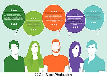 グループ, ネットワーク, 人々, コミュニケーション, チャット, 社会