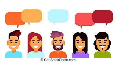 グループ, ネットワーク, 人々, 媒体, コミュニケーション, チャット, 社会, 泡, 偶然