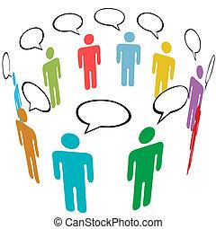 グループ, ネットワーク, 人々, 媒体, シンボル, 色, 社会, 話