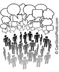 グループ, ネットワーク, 人々, 媒体, 会社, 社会, 話