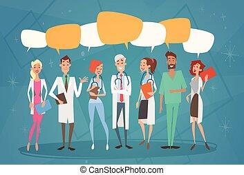 グループ, ネットワーク, 医院, コミュニケーション, 病院, 社会, 中間, チャット, 医者, チーム, 泡