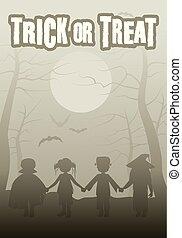 グループ, ハロウィーン, 子供, トリック, 森林, 夜, treat., ∥あるいは∥