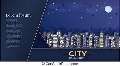 グループ, パノラマ, 超高層ビル, ビュー。, night., 都市の景観