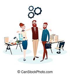 グループ, ビジネスオフィス, 人々, チームワーク, 仕事場, チーム
