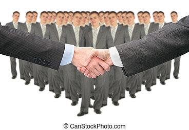 グループ, ビジネス, コラージュ, 大きい, 手が震える