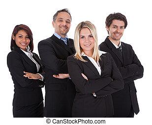 グループ, ビジネス, 一緒に, 人々