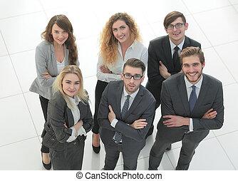 グループ, ビジネス, 上に, 背景, 白, 人々。