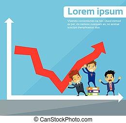 グループ, ビジネス 人々, グラフ, 下向き矢印, 秋, 財政, 危機, 赤
