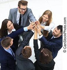 グループ, ビジネス 人々, 一緒に。, の上, 光景