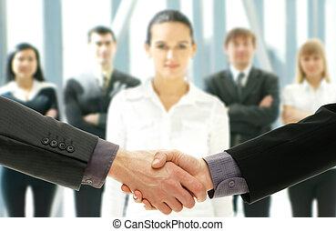グループ, ビジネス 人々, 上に, 背景, 未来派