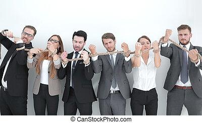 グループ, ビジネス 人々, 壊れる, ロープ, 強い