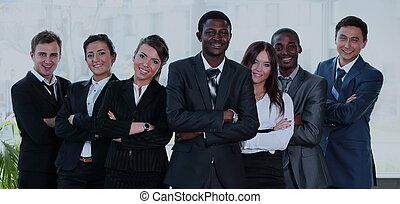 グループ, ビジネス 人々, 多人種である, カメラ。, チーム, 微笑