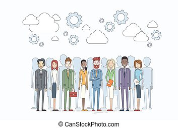 グループ, ビジネス 人々, 多様, 人間, チーム, 資源
