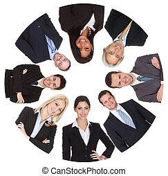 グループ, ビジネス 人々, 多様, 低い 角度 眺め