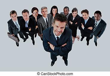 グループ, ビジネス, 人々。, 大きい, バックグラウンド。, 白, 上に