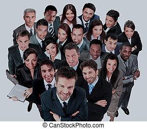 グループ, ビジネス, 人々。, 大きい, 背景, 白, 上に